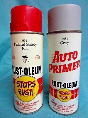2 Vintage Rustoleum Spray Paint Cans, Red, Grey- Nice !