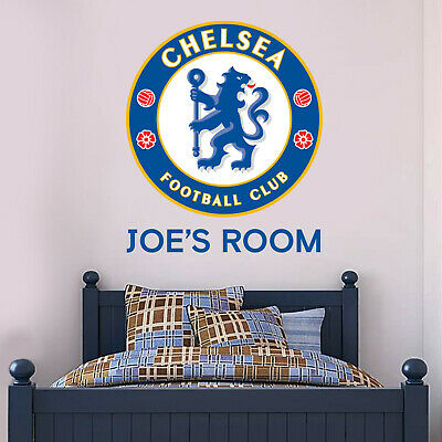 Official Chelsea Football Club Crest & Personalised Name Wall Art Sticker Decal