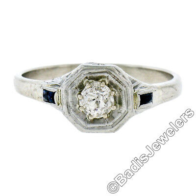 Antique Art Deco 14K White Gold .28ct Diamond Solitaire Sapphire Engagement Ring
