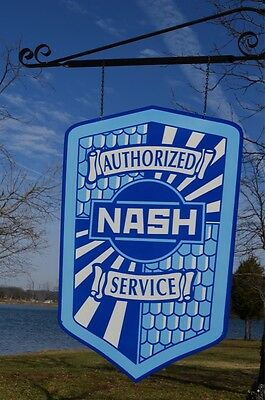 Old Style 2Ft Nash Rambler Dealer Service Shield 2Side Thick Steel Sign Usa Made