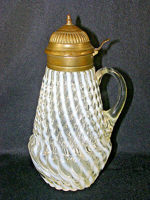 Antique Opalescent Glass Syrup Pitcher - White Reverse Swirl