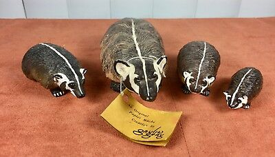 BADGER FAMILY - Handmade Figurines each SIGNED by Artist GAULIN GRAY - 4 Pcs.