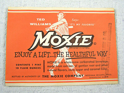 Vintage MOXIE 1 Pint Label with Ted Williams - Unused