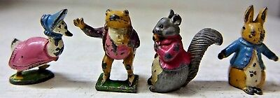 4 Very Old Cold Painted Beatrix Potter Figures - Very Rare - L@@k