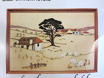 Vintage Creative Crewel Embroidery KIT by SEMCO: SHEEP STATION PICTURE - KIT 146