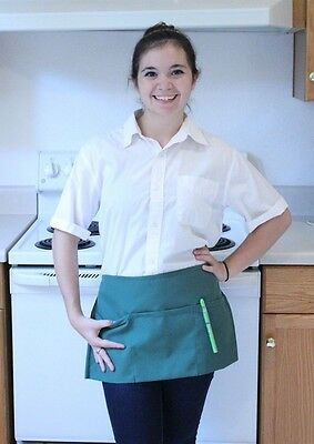 Waitress Waiter Server Hunter Green Waist Apron, Spun Poly, 100% American Made