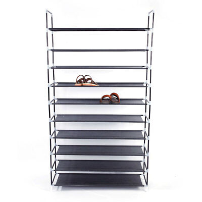 50Pair 10Tier Closet Shoe Organizer Space Saving Storage Free Standing Tower Rac