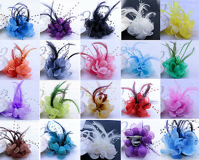 18Color Pearl Corsage Hair Clip Flower Fascinator Feather Hairpin Party Wedding