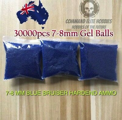 7 - 8mm BLUE BRUISER HARDENED Gel Ball Ammo Crystal Water BULK BUY 30000