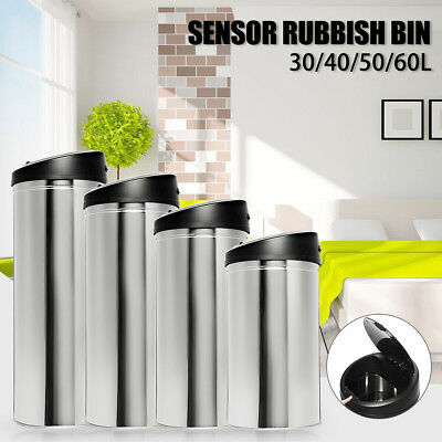 AU 30~60L Stainless Steel Bin Rubbish Motion Sensor Waste Automatic Trash 2018
