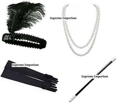 1920's Womens Flapper Charleston Accessory 4PCs Set Gatsby Fancy Dress Costume