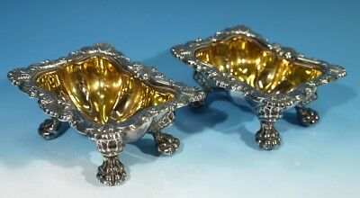 Pair Antique Silver Plated Condiments / Salts with Gilded Interiors & Paw Feet.