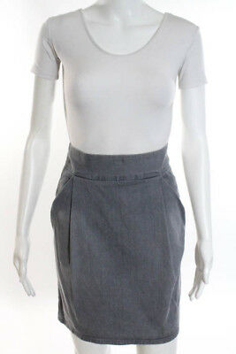Marc By Marc Jacobs Gray Cotton Pleated Micro Mini Denim Skirt Size 6
