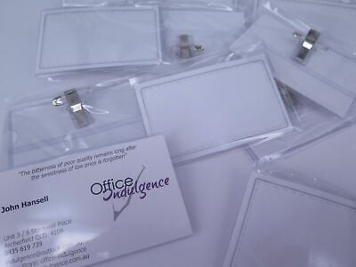 50 x Convention Name Badge & Card Holder With Pin Clip & Insert (Box) Conference