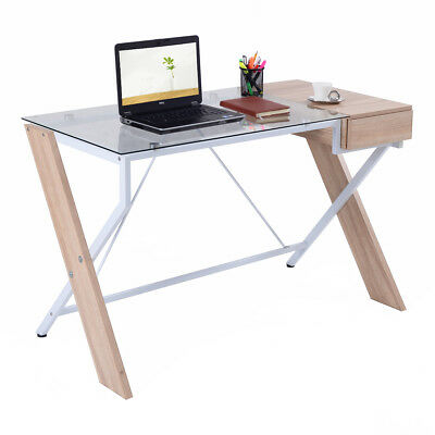 glass top office table round computer desk laptop table glass top wood metal frame home office furniture new small computer writing writing rustic wmetal