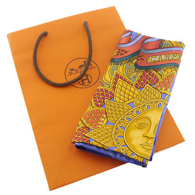 Authentic HERMES CARPE DIEM Scarf Multi-Color Silk #f21998
