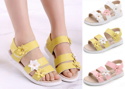 Comfy Kids Girls Ankle Strap Flower Beach Sandals Soft Leather Flat Casual Shoes