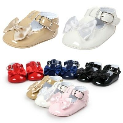 UK Newborn Infant Baby Shoes Kids Girl Bling Crib Pram Shoes First Walkers 0-18M