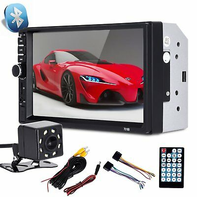 "7"" 2 Din Car Multimedia Radio MP5 Player Bluetooth HD Rear View Camera US STOCK"