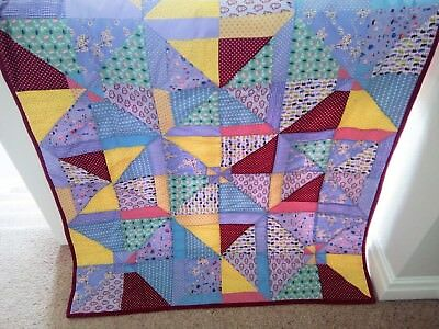 Handmade Baby Patchwork Cot bed Quilt/Play Mat/Car Rug Multi Coloured