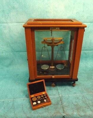 Vintage Oertling Scientific Balance (Scales) with Masses (Weights). (Hospiscare)