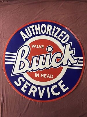 "Vintage Authorized Buick Service 42"" Double Sided Porcelain Enamel Sign."