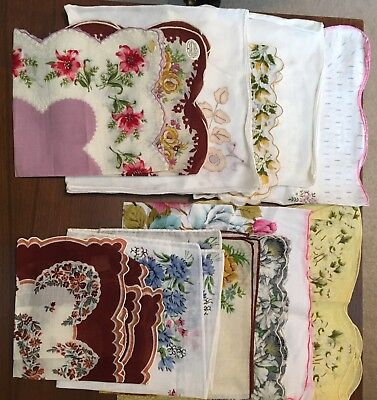 Vintage Ladies Hankies Lot of 12 Assorted sizes and styles-1 Herzman hand rolled