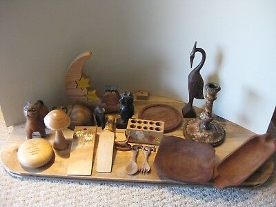Job Lot Collection Mix Various Wooden Items Animals Dark Wood Carved Decorative