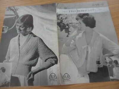RARE VINTAGE 1950s PATONS 3 PLY WOOL KNITTING PATTERN LADIES BED JACKET x 2