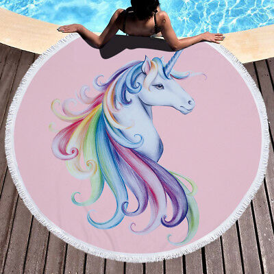 150cm  Boho Unicorn Hippie Round Tapestries Beach Throw Towel Pineapple Blanket