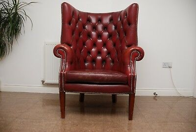 Antique Chesterfield Porters Red Leather Wingback Armchair