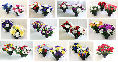Memorial Grave Vase Artificial Flower Arrangement Cemetery Crematorium Silk Rose