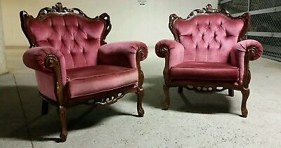 Antique furniture lounge chair carved french provincial coco italian SINGLE #90