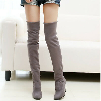 AU Women Over Knee High Block Heel Suede Long Boots Slouch Stretch Thigh Shoes