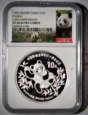"1991 China 10 Yuan ""Piefort"" Silver Proof Panda Coin NGC PF68 U. C.  W/Box & COA"