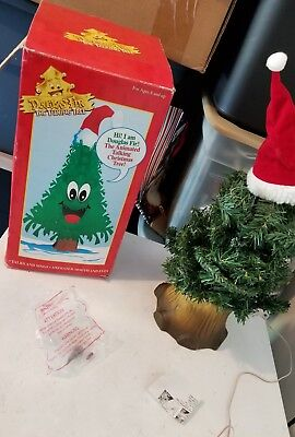 "Gemmy 18"" Dancing Douglas Fir Talking Singing Christmas Tree BOX HAT AC ADAPTER"