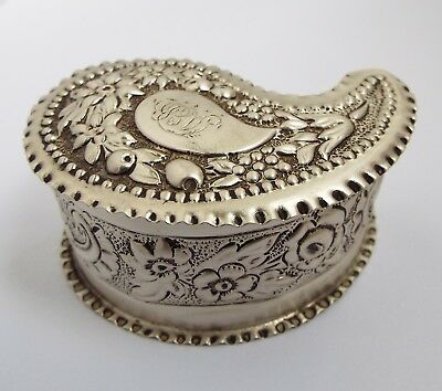 Lovely Rare Shape English Antique Victorian 1886 Solid Sterling Silver Table Box