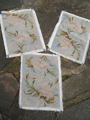 3 Vintage Tapestry Pieces Of Carnations