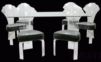 VMD1069 Modern Lucite & Glass Dining Table Six Chairs