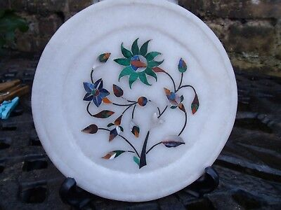 Decorative Indian Marble Plate,inlaid With Hardstone