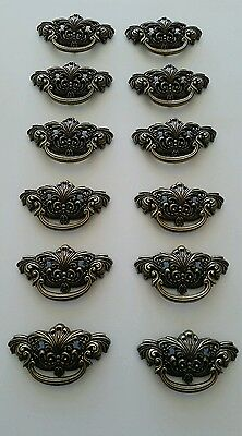 12 Matching Vintage Look Cast Metal Drawer Pulls Handles 3 Inch Center To Center