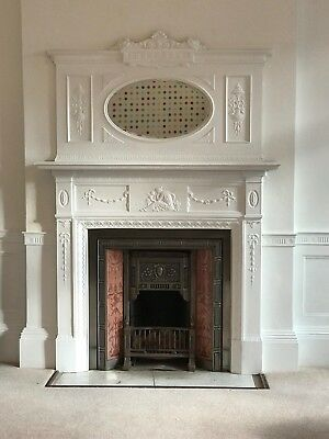 Edwardian Period Fireplace Surround And Tiled Fireplace Insert.