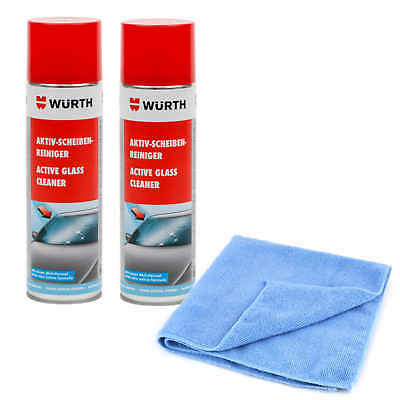 Wurth Active Foam Window Cleaner Spray Double Pack with 315g Microfiber Cloth