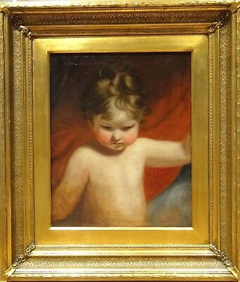 Fine Large 18th Century English Portrait Of A Child Infant Boy Joshua Reynolds