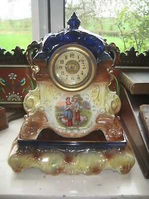 Antique/Vtg. Shepherdess & Sheep English Pottery Mantel Clock On Stand