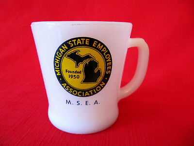 Vintage Anchor Hocking FIR EKING Advertising Coffee Mug MICHIGAN STATE EMPLOYEES