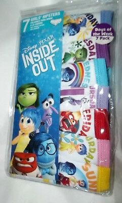 nip-Disney-INSIDE OUT-7 pair-Girls' Cotton Hipsters-Underwear-Days of Wk-Size 6