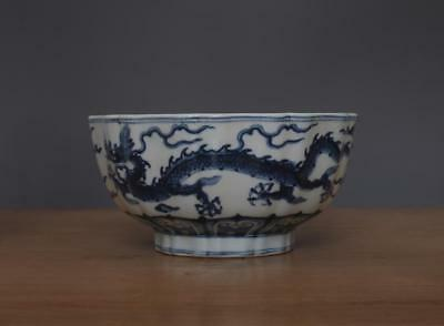 Xuande Signed Antique Chinese Blue & White Porcelain Bowl w/ Dragon