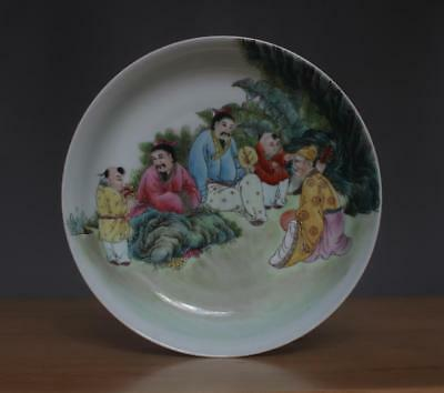 Qianlong Signed Old Chinese Famille Rose Porcelain Dish w/ Figures