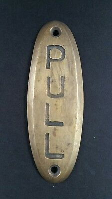 "PULL Door or Bell sign Antique Original Reclaimed Art Deco Solid Brass 4"" #F7"